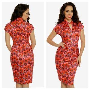 Lindy Bop Emma Poppy Print Wiggle / Pencil Dress